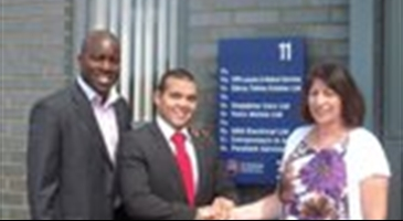 Capital Business Centre Manager Carol Matthews welcomes Preston Henser (centre) and Samuel Obi of CPR Locums